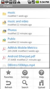 dropbox android application menu